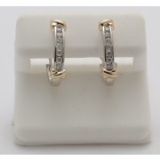 10K YELLOW GOLD WITH WHITE GOLD EARRING